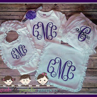 Deluxe monogram layette set for baby girl. Custom baby shower gift with monogram  Ruffled burp cloth, ruffled bib, bloomers and infant gown.