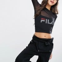 Fila Double Layer Mesh Crop Top With Logo Print at asos.com
