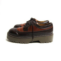 Vintage Platform Wing Tips oxfords. Chunky Tuxedo Shoes