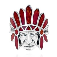 Tribal Native Indian Chief Head Red Coral Inlay .925 Silver Ring