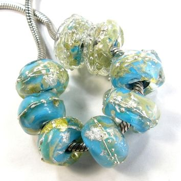 Opaque Dark Turquoise Large Hole Nugget Bead Clear With Silver Leaf and .999 Fine Silver lhb236004slfs Handmade Lampwork Glass Bead, Slider Bracelet Bead