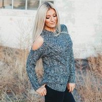 The Vail Sweater | Cable Knit and Detailed Winter Sweater Open Shoulder