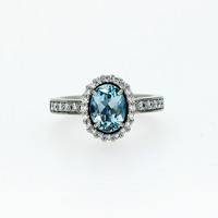 Oval cut sky blue topaz halo engagement ring with diamonds, topaz engagement ring, light blue halo, oval halo, blue topaz solitaire, custom