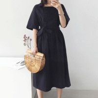 Double-Breasted Belted Midi Dress