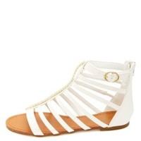 Chevron-Plated T-Strap Gladiator Sandals by Charlotte Russe - White