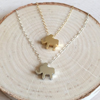 Cute! Tiny Elephant Charm in Silver or Gold Plated with Dainty 14k Gold Filled or Sterling Silver Chain, Elephant Charm, Gift Under 20