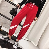 Nike  Split Loose  Cool Couple  Unisex Fashion Casual  Simple  Solid Color  Trousers