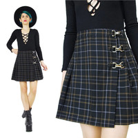 1990s Plaid Mini Skirt Pleated Mini Skirt High Waist Skirt Metal Buckles Punk Tartan Skirt School Girl Skirt Grunge Skater Wrap Skirt (S)