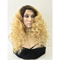 Ombre Blonde Human Hair Blend Deep Parting Lace Front Wig 24 - Erin