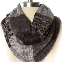 Gray and Charcoal Colorblock Knit Infinity Scarf