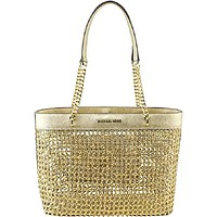 MICHAEL KORS KINGSLEY LARGE Carryall Tote Bag, PALE GOLD Braided Leather