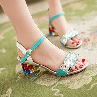 Fashion Rhinestone Sandals Pumps Ankle Straps High Heels Women Dress Shoes 4315