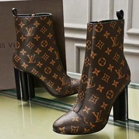 【Louis Vuitton】LV High Boots Classic Print Coffee Women Shoes Pumps Black Heel