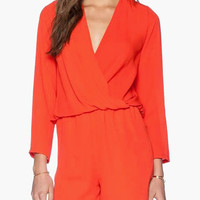 Orange Long Sleeve Lace Tie Deep V-Cut Back Draped Romper