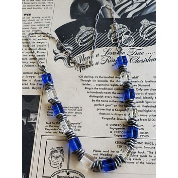 Abstract vintage cut lead crystal cube necklace cobalt blue and sterling silver