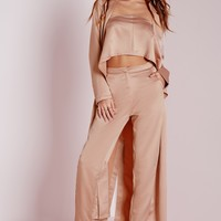 Missguided - Silky Cigarette Trousers Pink