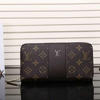 Louis Vuitton Men Fashion Leather Zipper Wallet Purse