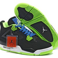 Cheap Nike Air Jordans 4 Retro Men Black Blue Green Shoes