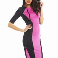 Pink Color Block Short Sleeve Bodycon Midi Dress