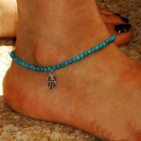 2015 new arrivel Fashion Anklet Boho Beads  Anklets Foot Chain Beach Jewelry (Size: 0, Color: Blue) = 5658256961