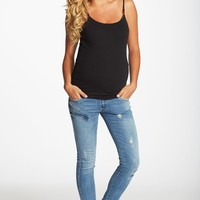 Light Wash Distressed Maternity Skinny Jeans
