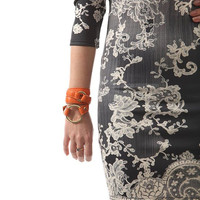 Orang leather triple wrap metal ring bracelet - hand cut and dyed.
