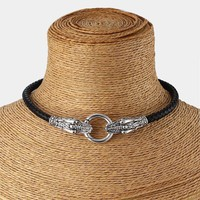 """Genuine Leather Choker Necklace Antique Silver Dragon Collar / Choker  With Black Braided Leather 13""""-17"""""""