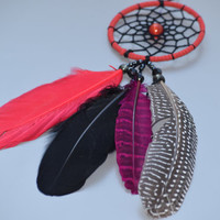 Car Mirror Charm, Small  Dream catcher, Red and Black Dreamcatcher, Car Rear View Mirror Charm, Cat Eye Stone, Natural Feathers