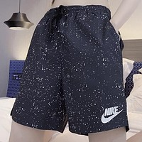 NIKE New fashion hook letter print couple shorts Black
