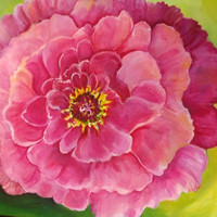 Pink Peony, Original Peony ART, 16 x 20, Original Flower Painting, Big Pink Peony on Green