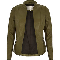 River Island Womens Khaki leather-look fitted jacket