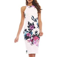 Elegant Women Dress Floral Slim Short Mini Dress Casual Summer Sundress S-XL