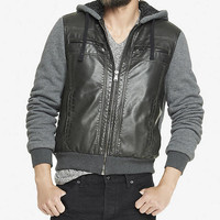 (MINUS THE) LEATHER FRONT SHERPA LINED HOODIE from EXPRESS
