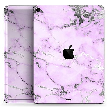 "Purple Marble & Digital Silver Foil V4 - Full Body Skin Decal for the Apple iPad Pro 12.9"", 11"", 10.5"", 9.7"", Air or Mini (All Models Available)"