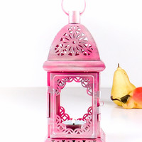 Pink Christmas Decoration Light - Silver Frost Exotic Lantern Centerpiece - Filigree Metal Candle Holder - Holiday Table Decor