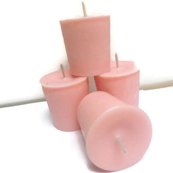Strawberry and Creme scented votive candles, soy votive candles