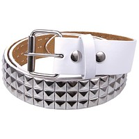Studded White Leather Belt