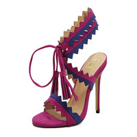 New Heels Women Stiletto Sandals Rivets Tassels Ankle Strap high-heeled Sandals Ladies Sexy Fringed Pumps Woman Shoes