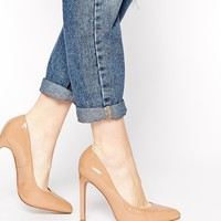 New Look Sense Nude Patent Heeled Court Shoes