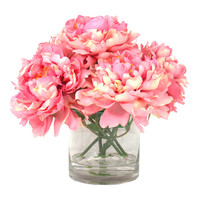 Creative Displays, Inc. Peonies in Acrylic Water Vase in Pink