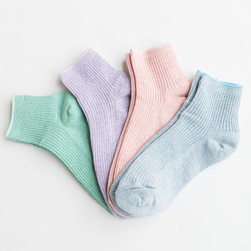 Women New Hezwagarcia 4 Pastel Tone Colors Lot Basic Essential Package Cotton Mini Crew Ankle Socks