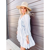 Women's Striped Peasant Long Sleeve Dress