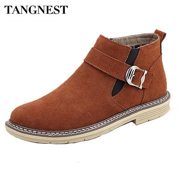 Tangnest Chelsea Boots For Men Casual Suede Leather Ankle Boots Warn Fur Inside