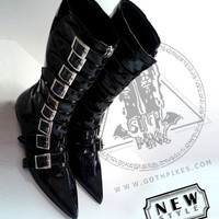 Long Pikes Winklepickers boots 9 buckle boots Goth Gothic Batcave WGT Siouxsie 80s UNISEX  leather, vegan, Patent