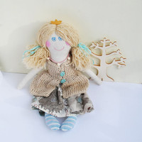 Princess Doll, Birthday Gift for Daughter, Doll Turquoise, Rag Cloth Doll, Stuffed Fabric Doll, Handmade Linen Doll, Natural Color Dolls