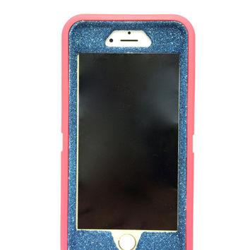 iPhone 6 (4.7 inch)Glitter OtterBox Defender Series Case Sparkly Bling Custom Case Pink / blue.