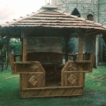 Bambooki.com: PolyTiki Creations Bamboo Gazebo 8ft x 8ft with Cogon Roof