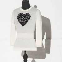 Heart lace inlay wool jumper | dolce&gabbana online store