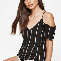 Kendall & Kylie Short Sleeve Button Front Cold Shoulder Top at PacSun.com
