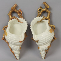 19th Century Royal Worcester England Sea Shell Wall Pocket Flower Vases - Remarkable Estate Find